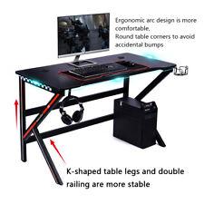 Gaming Tisch Carbon-Optik Schreibtisch Computertisch PC Ergonomisch K-förmiger