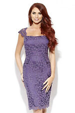 New Amy Childs Lipsy Size 8 Purple Floral Lace Midi Pencil Dress Party Occasion