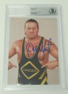 Owen Hart WWF WWE Signed Autograph Auto 5x7 Photo JSA BAS Beckett Slab