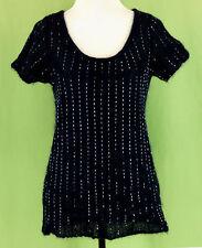272 ITALY Alberta Ferretti Studio WOOL blend top navy sweater striped EUC Size 8
