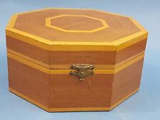 Delightful Vintage Inlaid Octagonal Wood Box ~ Old Lined Jewellery / Trinket