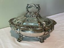 More details for ornate antique victorian silver plate small tureen with lid