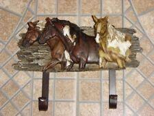 "Wall Plaque/2 Hooks 3 Beautiful Horses Decorative 6 3/4"" Tall x 9"" Across"