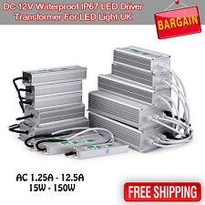 Waterproof IP67 Driver Power Supply LED Transformer 240V DC12V for LED Strip UK
