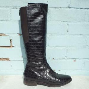 Hobbs Patent Leather Boots Size UK 5 Eur 38 Womens Croc Elasticated Brown Boots