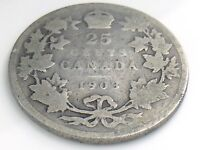 1903 Canada 25 Twenty Five Cent Silver Circulated Canadian George VI Coin I545