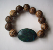 NEW, BUY 2 GET 3RD FREE, CHUNK YELLOW TURQUOISE & WOOD BEADED BRACELET