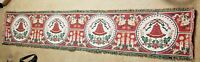 """Vintage Christmas Table Runner Woven Material Bells Candles Holly 69"""" x 13.5"""""""