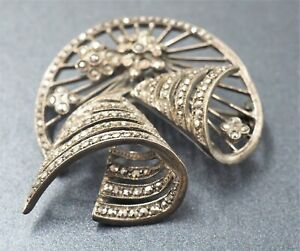 Womens Brooch 925 Sterling Silver Marcasite Bell Style Collectable Vintage