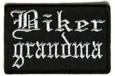 "(H29) BIKER GRANDMA Old English 3"" x 2"" iron on patch (5223) Biker"