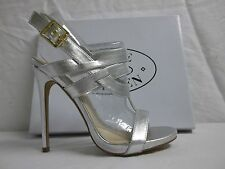 Steve Madden Size 7.5 M Magical Silver Open Toe Heels New Womens Shoes