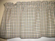 Country Blue Tan Olive Green Check Plaid Homespun fabric kitchen curtain Valance