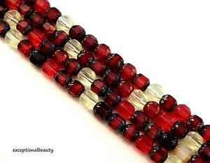 50 Assorted Mix Preciosa Czech Fire Polished Glass 6mm Faceted Cathedral Beads