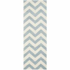 Hand-Tufted Chatham Blue/Ivory Wool Rug 2' 3 x 9' Runner