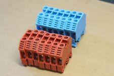 Lot de 14 borniers CONTA CLIP RK 6-10 10mm2 600V 55A / 7 Bleu & 7 Bordeaux