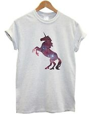 Unicorn Galaxy T Shirt Top Silhouette Men Women Girl Kid White Hipster Stars New
