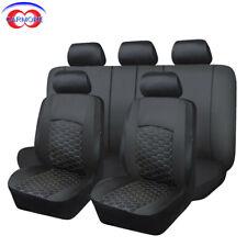 11 PCS Black Full Set Universal Car Seat Covers Faux Leather Heavy Duty Mesh