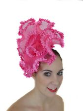 a978cf2801024 FUSCHIA HOT PINK FAN RUFFLE FRILL FASCINATOR HAT RACES WEDDING MILLINERY