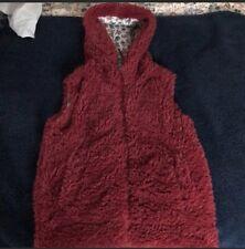Mini Boden girls fleece Sherpa hooded red vest 7-8y EUC