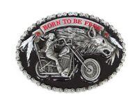 Boucle de ceinture style chaine motif biker moto avec tête de loup.
