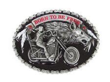 Boucle plaque de ceinture style chaine motif biker moto avec tête de loup.