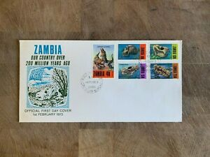 ZAMBIA 1973 FDC OR USED DINOSAURS PREHISTORIC FOSSILS