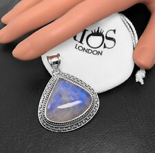 New 925 Sterling Silver Moonstone Triangle Gemstone Necklace Pendant Gift Boxed