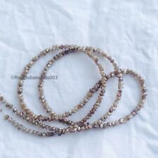 "20 Ct Natural Brown Rough Loose Diamond Beads 16"" Strand Necklace .Silver Clasp"