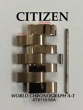 CITIZEN ECO-DRIVE WORLD CHRONOGRAPH A-T MENS WATCH LINK GOLD TONE AT8113-55A