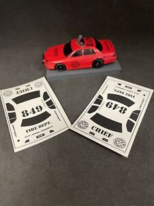 Fire Chief decals for AFX High Patrol body including windows