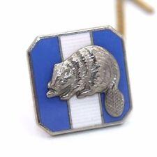 Vtg BOY SCOUTS OF AMERICA Sterling Silver SILVER BEAVER Enamel Tie Lapel Pin