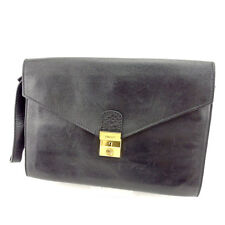 Bally Clutch bag Black Gold Mens Authentic Used L1191