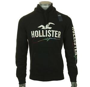 New Men's Hollister Hoodie Sweatshirt Fleece Lined Embroidered Sweatshirt M L XL