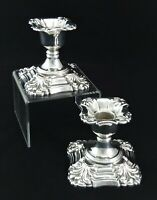PAIR ORNATE HEAVY SHEFFIELD DWARF CANDLE HOLDER CANDELE STICKS SILVER PLATED