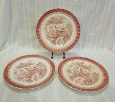 3 Vintage Spode Mandarin Pink / Red Dinner Plates 10.25 Inch