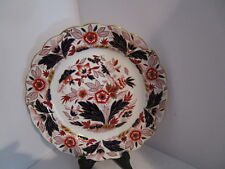 """BOOTH's 10 3/8"""" Dovedale Dinner Plate - Rust & Cobalt Blue Flowers & Leaves"""