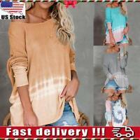 Womens Ladies Casual Loose Tie Dye Long Sleeve Tee Shirt Sweatshirt Blouse Tops