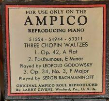 THREE CHOPIN WALTZES AMPICO RECUT REPRODUCING PIANO ROLL