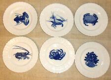 Superbe 6 assiettes Porcelaine LIMOGES BERNARDAUD  BLEU DE FOUR decor poisson