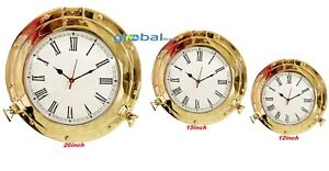 "12"" 15"" 20"" Polished Brass Porthole-Marine Ship Porthole Nautical Wall Clock"