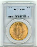 1920 $20 Gold Saint Gaudens MS 64 PCGS Some Spots But Beautiful Luster