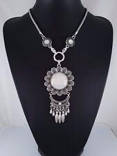 Stunning Antique Silver Mesh Decorative Chain Flower Design Statement Necklace