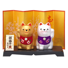 Maneki Inu Dog Gold and Silver Twins Fortune Charm 2018 Dog Year Doll Good Luck