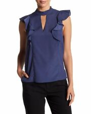 $110 BCBGENERATION WOMEN'S BLUE RUFFLED MOCK-NECK CAP-SLEEVE BLOUSE TOP SIZE M
