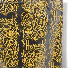 "Harrods Knightsbridge Black Gold PVC Handled Tote Shopping Bag 16"" x 15"""