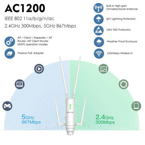 AC1200Mbps Outdoor AP Repeater Wireless Booster 2.4G&5G High Power&Antenna,PoE