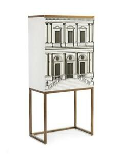 """67"""" T Bar Cabinet Monochrome Architectural Drawing Steel Frame 2 Doors 1 Drawer"""