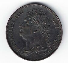 GREAT BRITAIN 1821 FARTHING GEORGE IV SEATED BRITANNIA COPPER COIN NICE GRADE