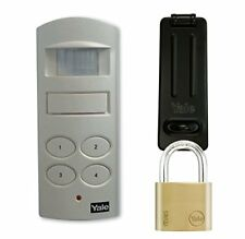 Yale P-SHPK-01 Wireless Shed and Garage Alarm with Padlock and Hasp, White, 40 m