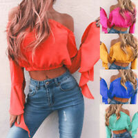 Women Summer Off Shoulder Bardot Crop Top Ladies Ruffle Frill Long Sleeve Blouse